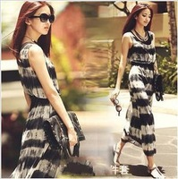 FREE SHIPPING Wholesale Women Beach Dress Bohemia Floral dress+Vest Chiffon Maxi Belt As Gift mix order