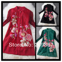 2014 spring summer women's elegant lace long sleeves stand collar embroidery wine red black green one-piece dress 1496