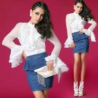 2014 spring and summer fashion peter pan collar shirt flare sleeve chiffon shirt long-sleeve shirt female white