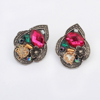 2014 Vintage Low Price red&green gem Stud Earrings for women Factory Wholesale and free shipping