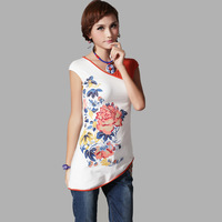 National 2014 trend V-neck color block print short-sleeve T-shirt sweep Women's cotton blouse folk style  WFS306