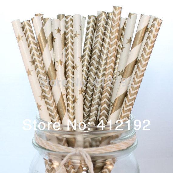 1000pcs Metallic Gold Set Drinking Paper Straws GOLD For Kids Birthday Party Wedding Decorations stripe star chevron mix(China (Mainland))