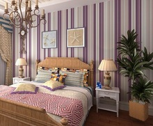 Flock Girl Bedroom Striped Wallpaper Modern Purple and White Wall Paper Wall Paper Roll WP133S(China (Mainland))
