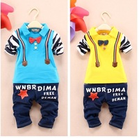 FREEE SHIPPING NEW ARRVIAL KIDS CLOTHING SETS 2PCS/SET CHILDREN TURN-DOWN COLLAR LONG SLEEVE SHIRT + JEANS STYLE PANTS