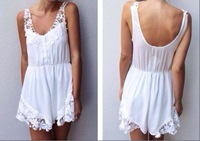 free shIpping .2014  Stitching lace halter Rompers  FT620