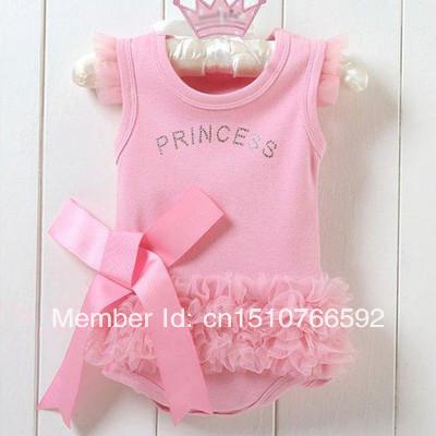 Free Shipping Baby Girl Pink Bodysuit Princess T-shirt Dress Jumpsuit Christmas gift B1589-B1591 21l3(China (Mainland))