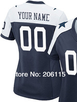 Embroidery&Stitched Women's Custom Dallas American Football Jersey White Personalized Female Jersey Throwback Blue Free Shipping