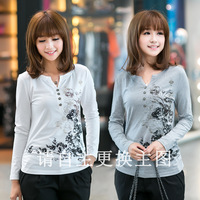8803 female autumn national 2013 trend ink print V-neck long-sleeve plus size t-shirt real pictures with model