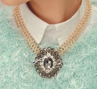 Yoon Eun Hye Korean think you wear the same paragraph retro short rough gem necklace XL0419