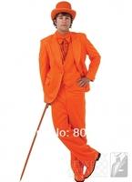 G66 handsome new hot orange notch lapel one button single breasted bridegroom man Tuxedo Groomsmen Wedding Suit formal prom