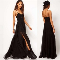 2014 New Victoria Women Dress V-neck Double Layer Floor Black Casual Full Evening Party Chiffon Maxi Long Free Shipping