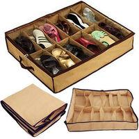 2014 Real Hot Sale Makeup Organizer Caixa Organizadora Box 12 Cells Tidy Under Bed Shoe Storage Organizer Holder Box Closet Case