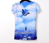 Novelty! 2014 New Vintage Clothing Retro Rock Punk T-shirt Tshirt 3D Women T shirt Tops For Women Vestidos Blue Butterfly