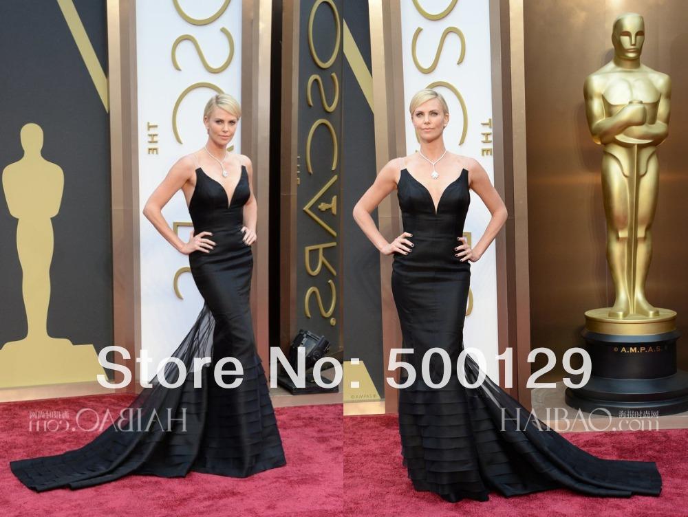 Oscars 2014 roten teppich kleider elegant v hals meerjungfrau