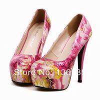 Free shipping 2014 Korean Women Floral Print High Thin Heels Stiletto Platforms PU Pumps Shoes Eur35 Eur36 Eur37 Eur38 Eur39