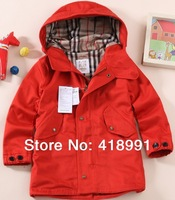 European American Boys Coats High Quality OEM/ODM Hooded Twill Trench Outwears Free Shipping Retail and Wholesale