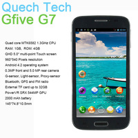 "Gfive G7 MTK6582 Quad Core WCDMA 3G GPS Bluetooth FM Smart Phone 1GB DDR3 RAM 4GB ROM 5"" Android 4.2 OS 8MP Camera Free Shipping"