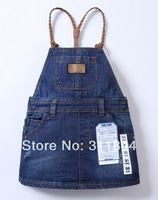 High quality  children's brand jeans cotton Denim suspender braces dress kids girls baby trousers 2-10 old years