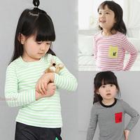 2014 spring and autumn stripe pocket girls clothing child long-sleeve T-shirt tx-1372 basic shirt