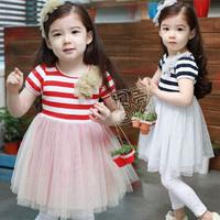 2014 summer flower girls clothing baby child qz-0283 short-sleeve dress