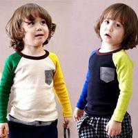 2014 spring color block decoration pocket boys clothing girls clothing child long-sleeve T-shirt tx-2869 basic shirt