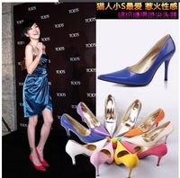 11 Colors Size35-42  Free shipping  2014 Spring Fashion,Sexy 9.5CM Pointed Toe High-Heel Pumps women's Shoes  Party Shoes ,
