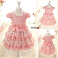 Free shipping high quality summer child lace decoration girls princess dress children  one-piece dresses girls