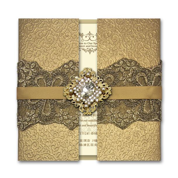2014 Luxurious Invitation Card ,Shinging Golded Color With Byzantium Rhinestone ,Free Wording Printing ,Wedding Favors(China (Mainland))