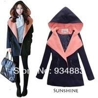 2014 Fashion Women's Outerwear Winter Overcoat Female Fashion With A Hood Women's Woolen Outerwear Wool Overcoat Free Shipping