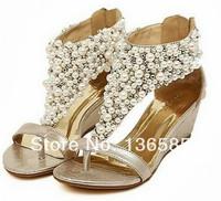 Free shipping Women's Bohemia Wedge Heel Flip Flop Shoes Jewelrys Beads Pearl Sandal  Eur35 Eur36 Eur37 Eur38 Eur39