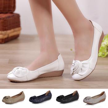 Plus Размер(34-41)2014 Spring comfortable Женщины Натуральная кожа flat shoes female ...