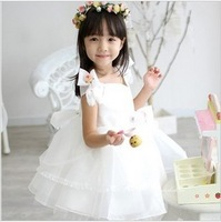 Children's clothing organza child formal dress wedding dress female flower girl white princess dress child dress puff skirt