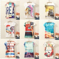 Hot  Selling!2014 New Fashion  brand women  T shirt  short  sleeve  cotton  print    Girl  t-shirt  8065