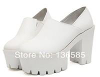 Free shipping 2014 New Super Star Love White Leather Shoes High Platform Chunky Heel Shoes Zipper Eur35 Eur36 Eur37 Eur38 Eur39