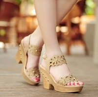 Rhinestone open toe cutout ol thick heel wedges platform rivet new arrival 2014 woman's  sandals size 34-39
