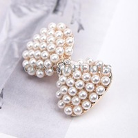 Set of 10 Pcs Pearl Bow Alloy Sliders Buckles 32mm For ELastic Ponytail Holders Decoration Hair Accessories