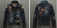 2014 New Spring Autumn Men Denim jackets Jacket Tops Jeans Casual coat Slim Outerwear Hole Short Cotton Plus Size XXL Free