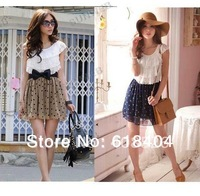 2014 Summer Women Fashion Trendy Korean Lace Chiffon Mini Dress Outfit without blet 2 colors free shipping  861