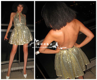 Small fashion sexy champagne gold ecgii high waist slim large racerback paillette formal dress halter-neck puff skirt