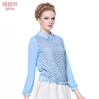 2014 Spring women's sweet turn-down collar patchwork cutout lace long-sleeve pullover short design shirt Free Shipping