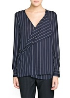2014 New Women Notched Crossing Collar Striped Prints Casual Blouse Ladies leisure Shirt,SW2133-G02