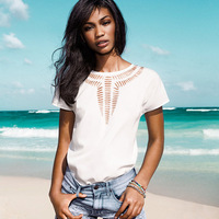 Summer 2014 Women carved cutout front blouse shirt batwing short sleeve pullover chiffon shirt back button camisas
