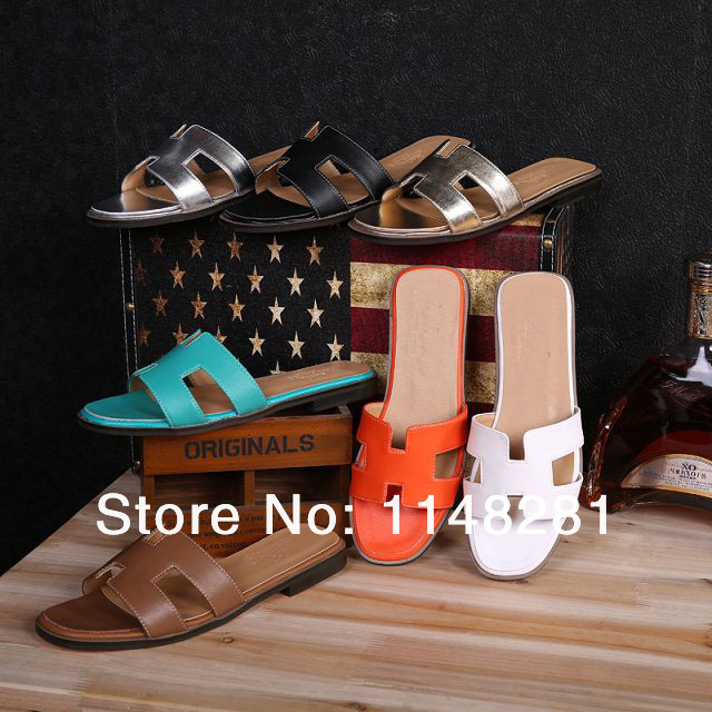 Limited Edition brand shoe 2014 new summer shoes Oran H Sandals Slippers Fashion 100% Genuine Leather Women Flats size 42(China (Mainland))
