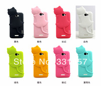 Freeshipping Mobile phone Soft Silicone Cover for HTC One X G23 S720e Pretty 3D Cat Protective Cases