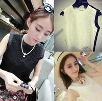 2014 fashion all-match fashion double layer lace crotch small vest