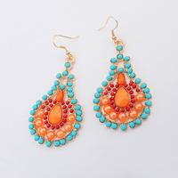 2014 Popular Antique blue orange colorful gem flower drop dangle Earrings Factory Wholesale