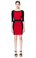 2014  new   sexy red and black patchwork stitching SlimDress