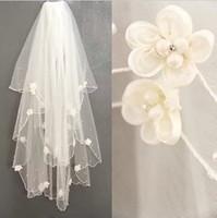TBV4 Dream handmade diamond flower bride wedding double layer veil