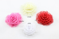 2014 New girls Lace Flower hair accessories baby Silk Chiffon fabric flowers for clothing 24 pcs/lot Free Shipping