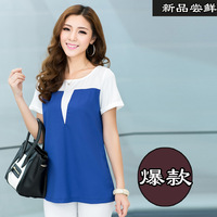 Women's plus size loose short-sleeve chiffon shirt summer top basic pullover shirt patchwork shirt